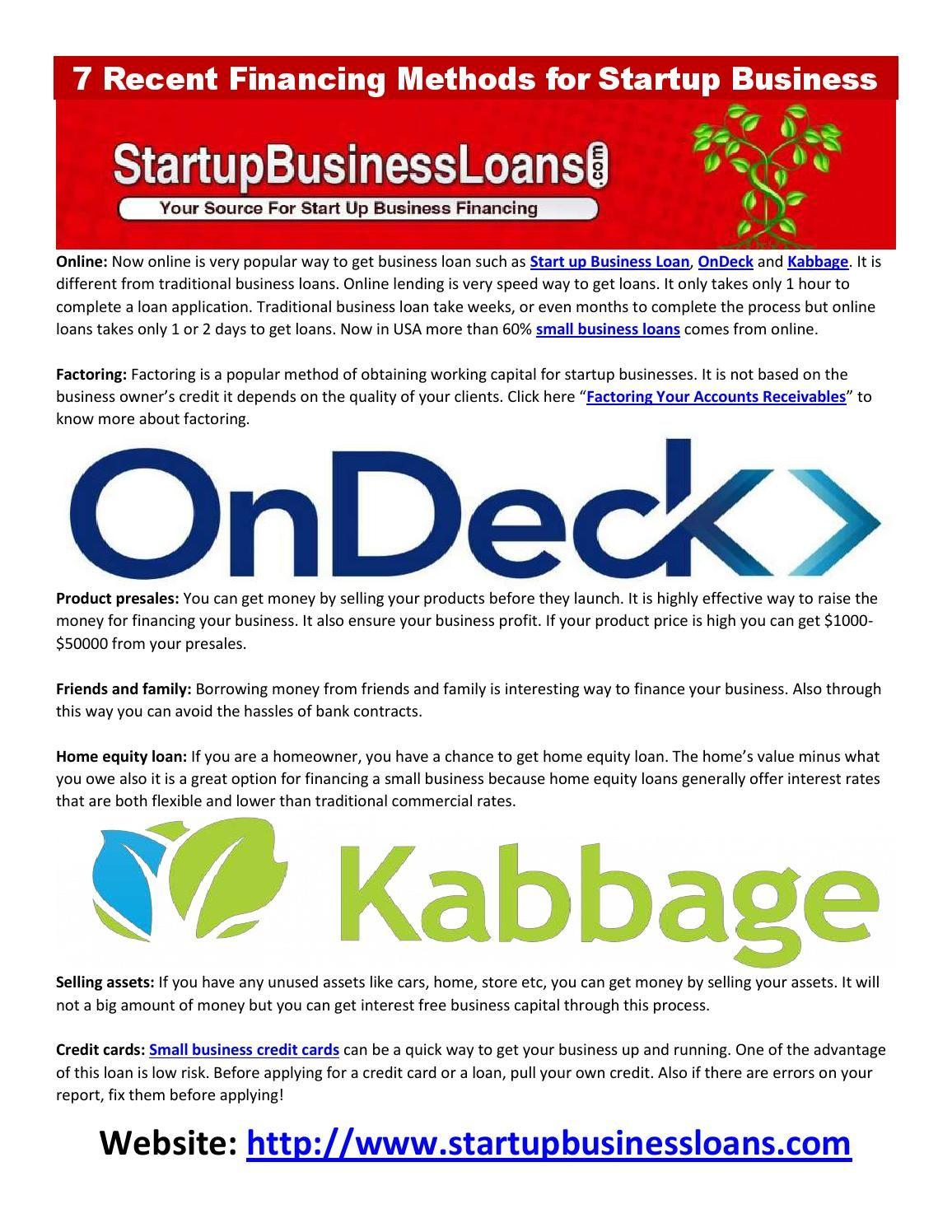 7 Recent Financing Methods For Startup Business Start Up Business Start Up Business Loans