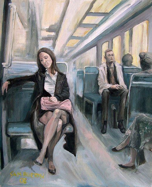 My painting of woman in Paris Metro | Pinturas, Creativo y Arte