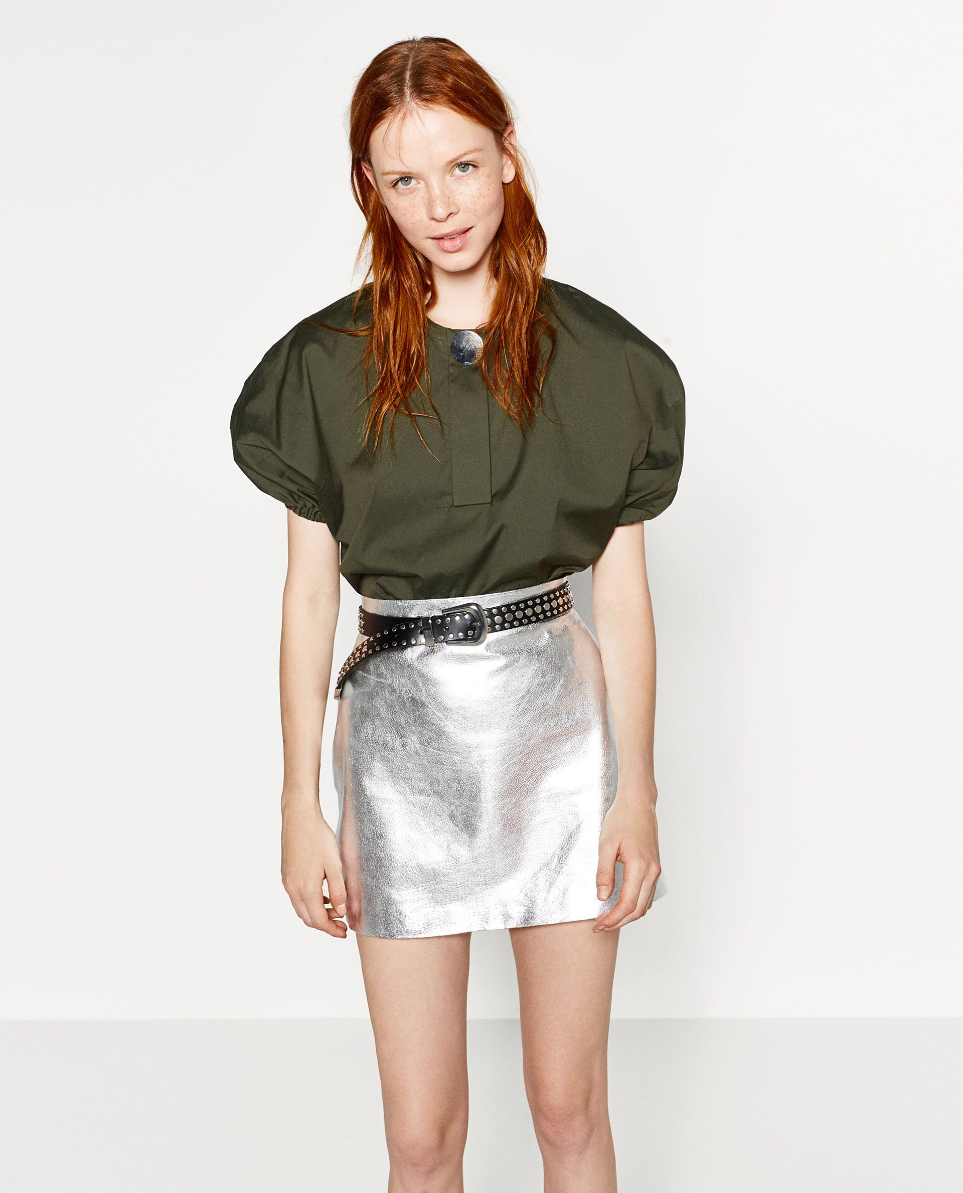 fb36cf225372 Zara Netherlands, Zara Women, White Leather Skirt, Metallic Leather, Silver  Skirt,