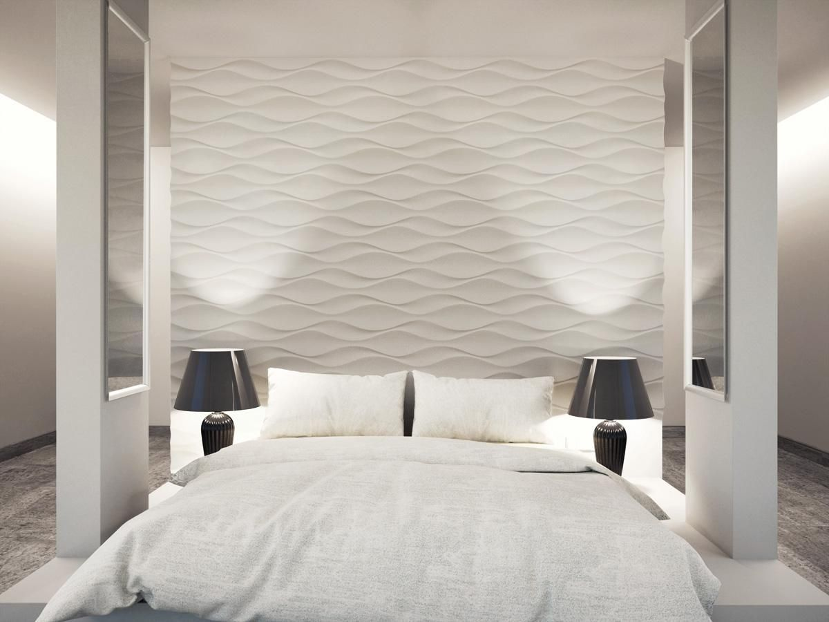 Betthaupt Mit 3d Wandpaneele Aus Gips Gestalten Wan Wandpaneele Schlafzimmer Ideen Schlafzimmer