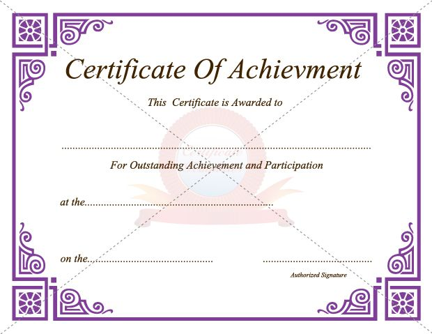 Achievement Certificate Certificate Template Pinterest - certificate of participation free template