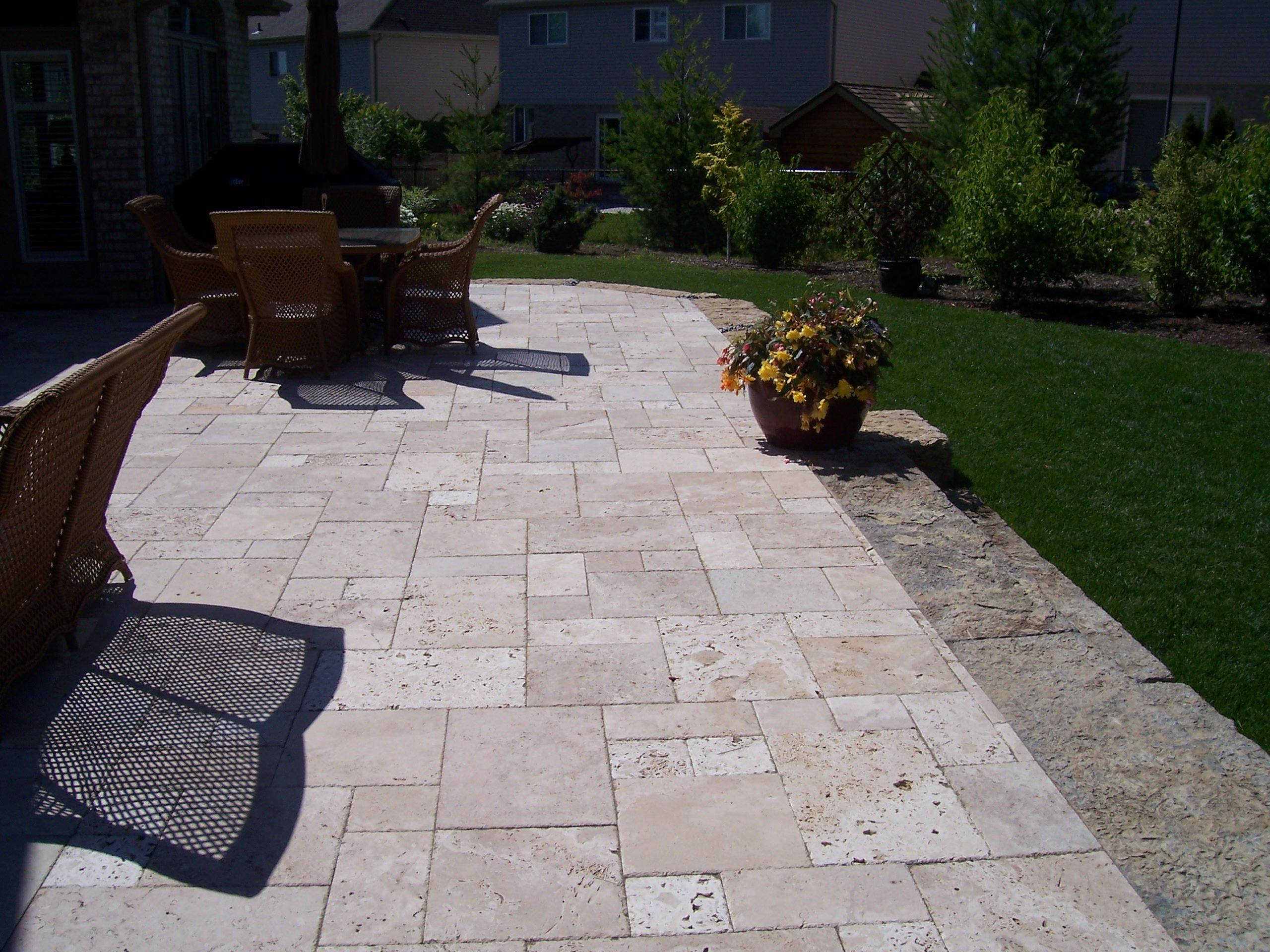 Backyard Patio With Duo Stone Types