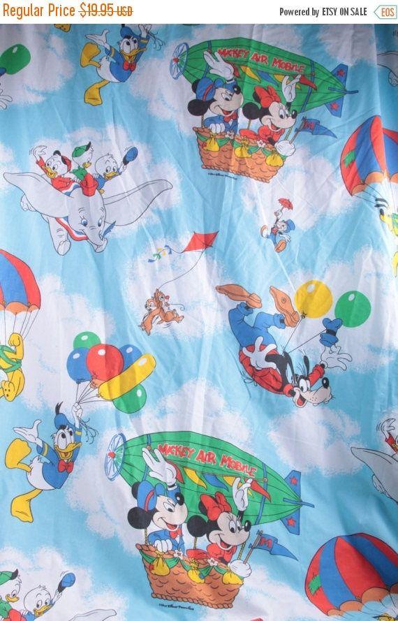 Vintage FabricDisney Mickey Minnie Goofy Pluto Donald Dumbo Flat Twin Sheet Fabric  The Pink Room  170211 160927 by ThePinkRoom