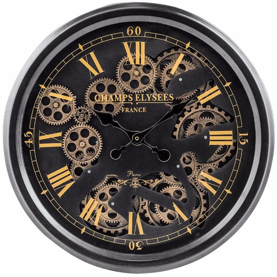 Black And Gold Medium Moving Gears Clock Gear Wall Clock Wall Clocks Uk Wall Clock Design
