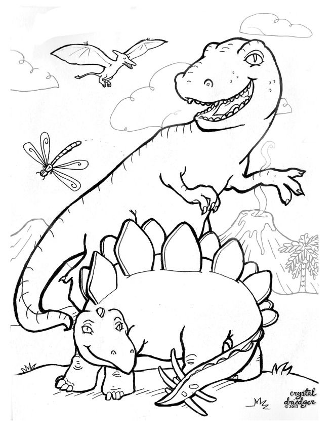 Free Dinosaur Colouring Page By Crystal Driedger Dinosaur