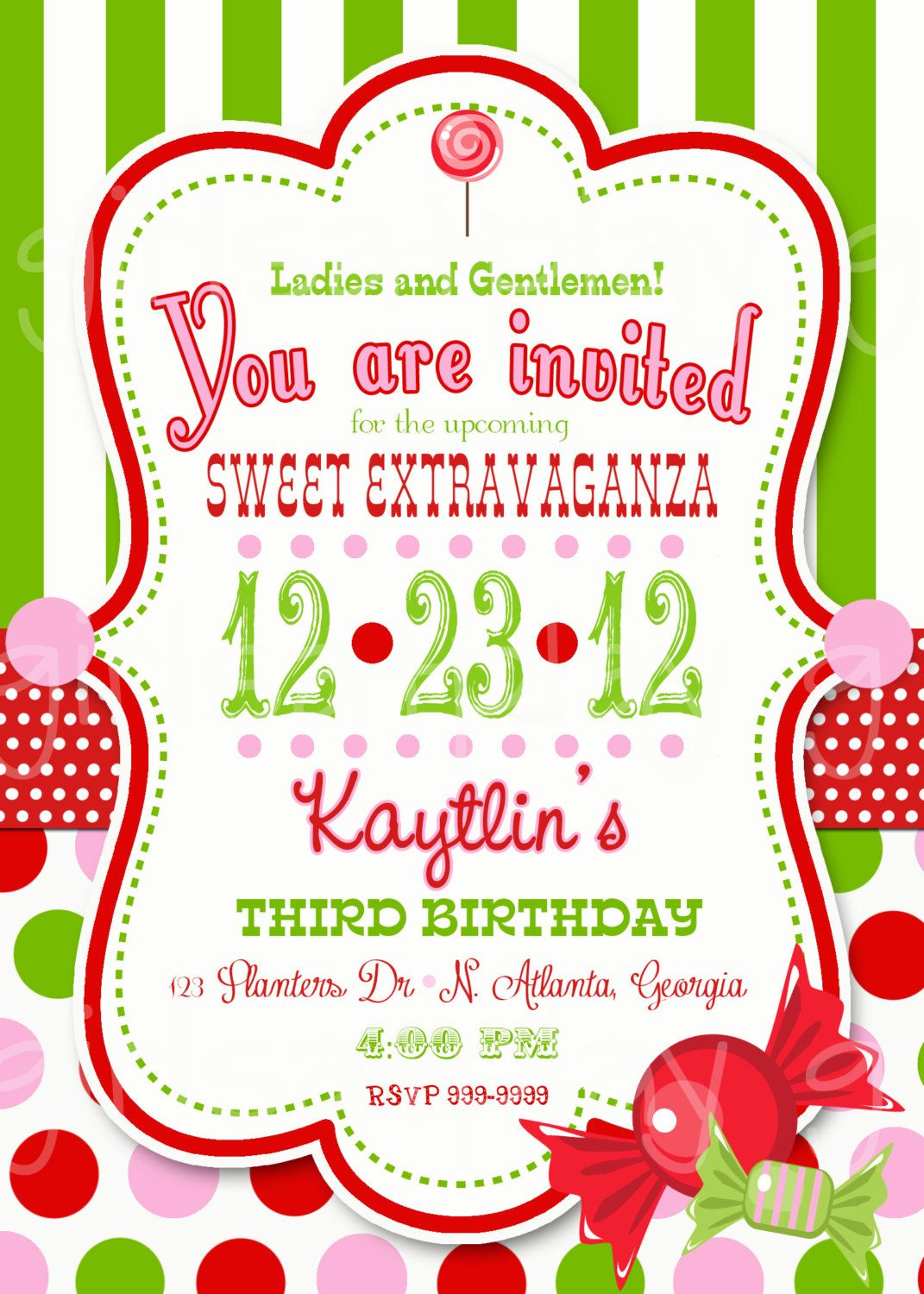 Circus christmas birthday invitation candy green white for Dots and stripes party theme