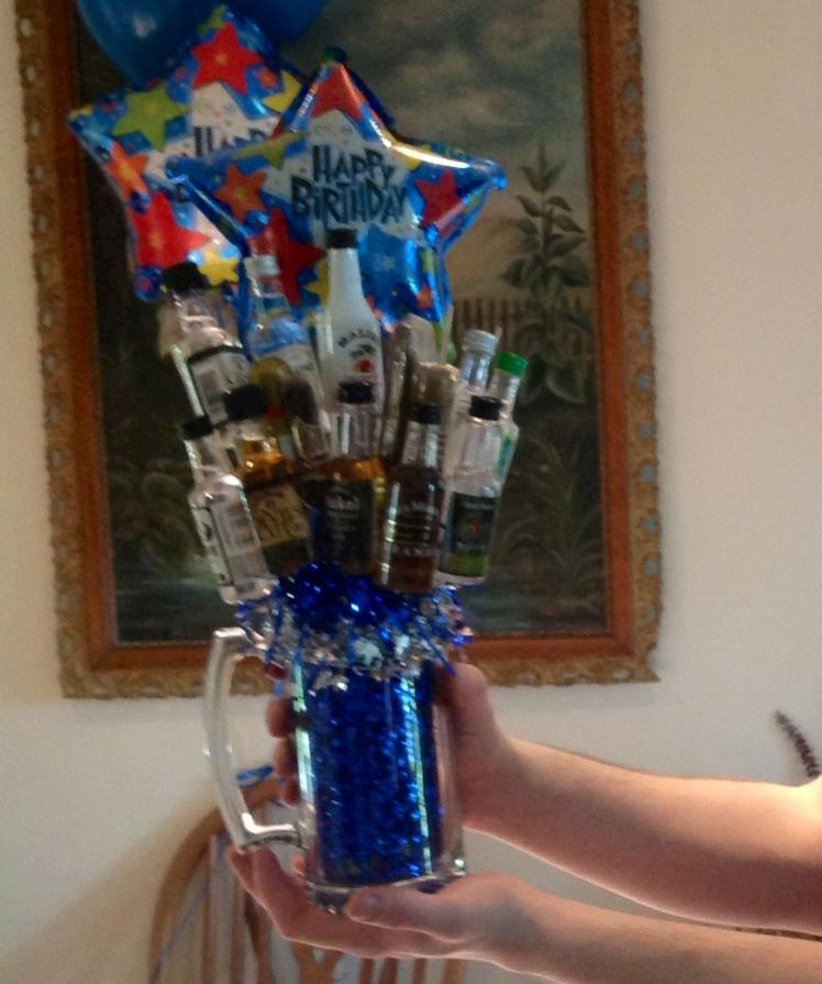 Mini Liquor Bottle And Cigar Bouquet Made For My Son's