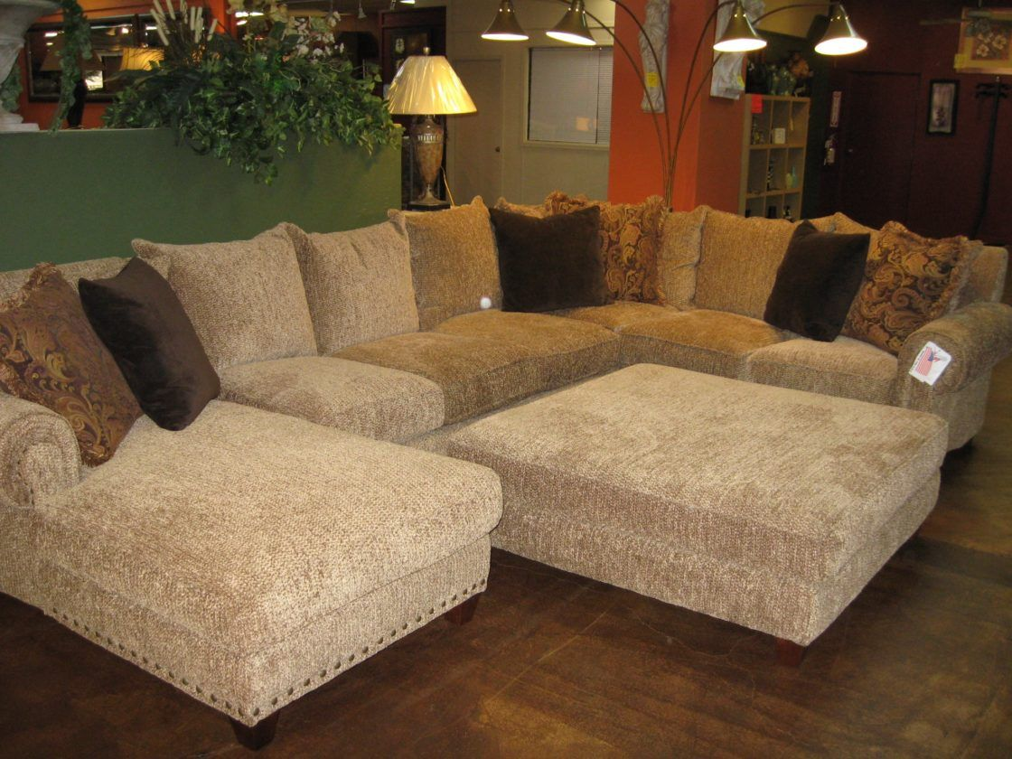 Beautiful Chic Beige Microfiber U Shaped Sectional Couch Living Room With  Chaise Lounge Including Brown Cushions