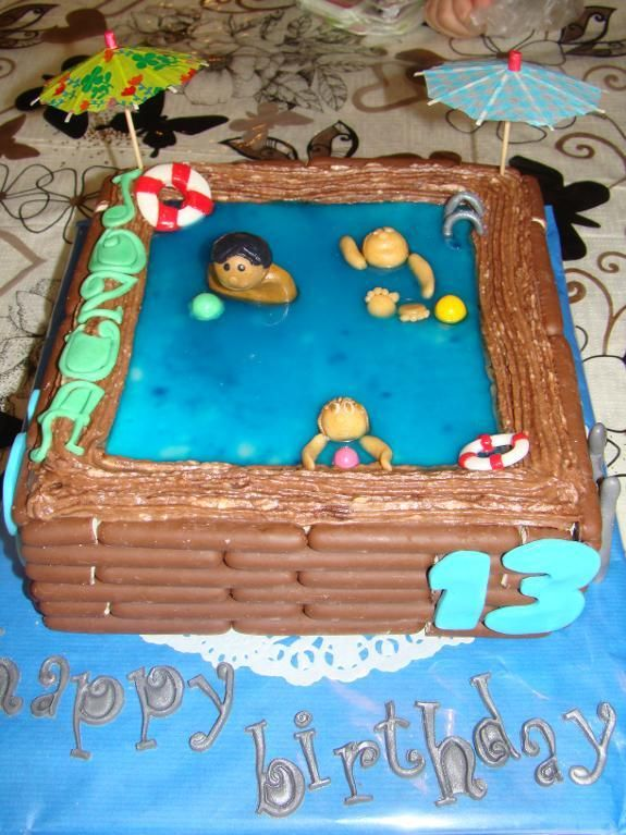 Swimming pool cake water water everywhere pinterest pool cake cake and birthday cakes for Swimming pool birthday cake pictures