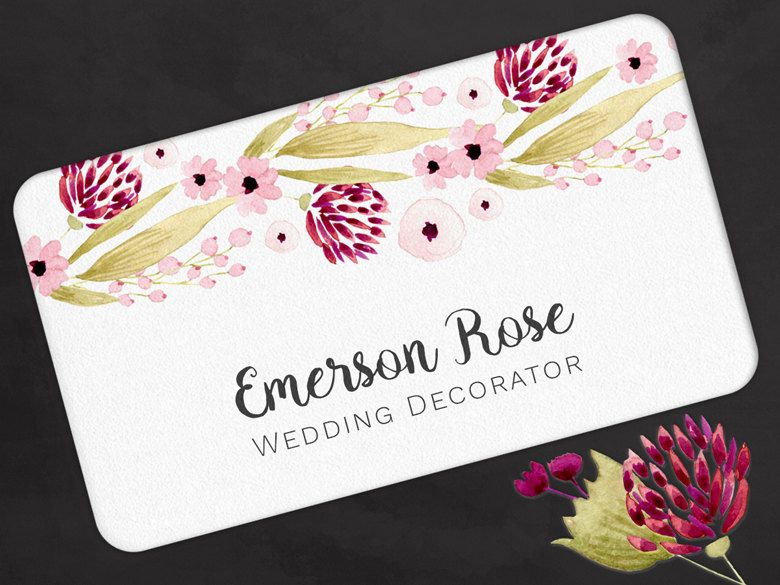 Business card red pink watercolor flowers calling contact card by business card red pink watercolor flowers calling contact card by olivinestationery on etsy reheart Gallery