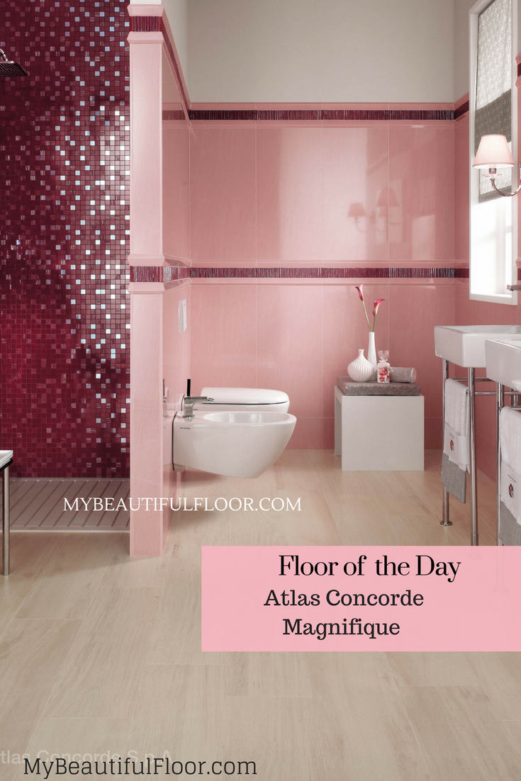 Pretty In Pink This Striking Combination Of Floor And Wall Tile Collections Crest Magnifique From Atlas Concorde M Ceramic Tiles Flooring Ceramic Floor Tiles
