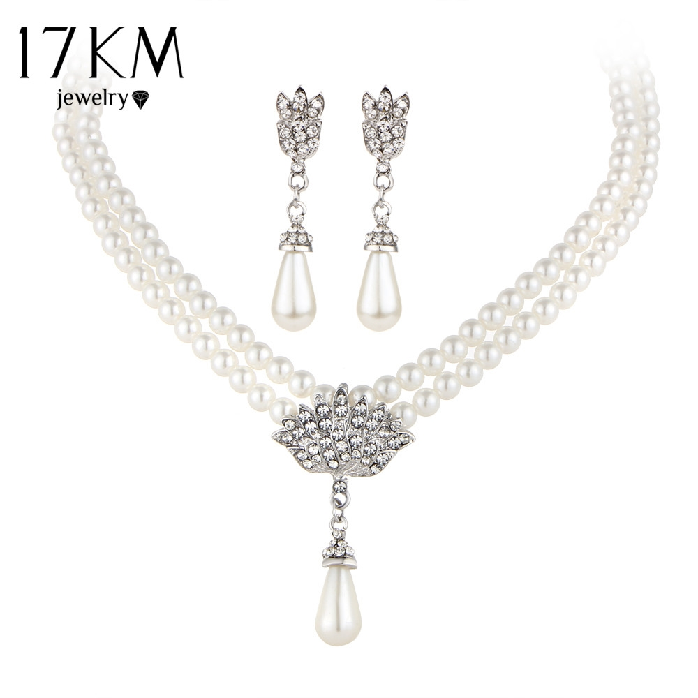 buy here km charming bride simulated pearl jewelry set