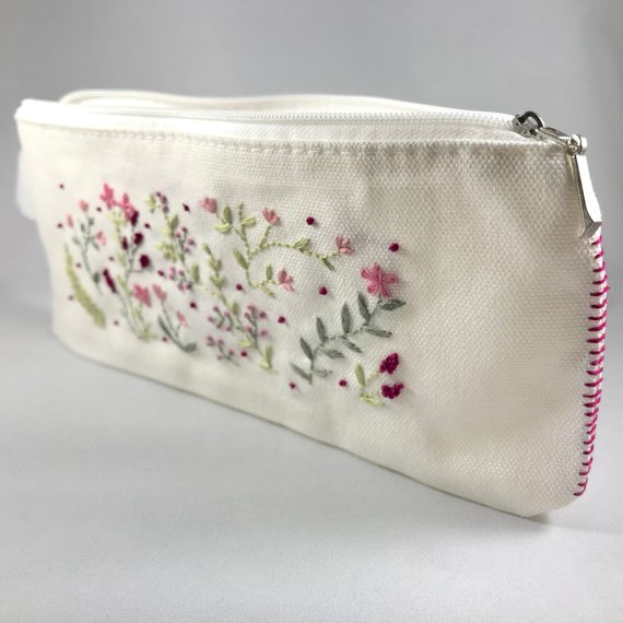 Large Floral Fabric Pencil Case Vintage Style Hand Embroidery Flower Makeup Bag