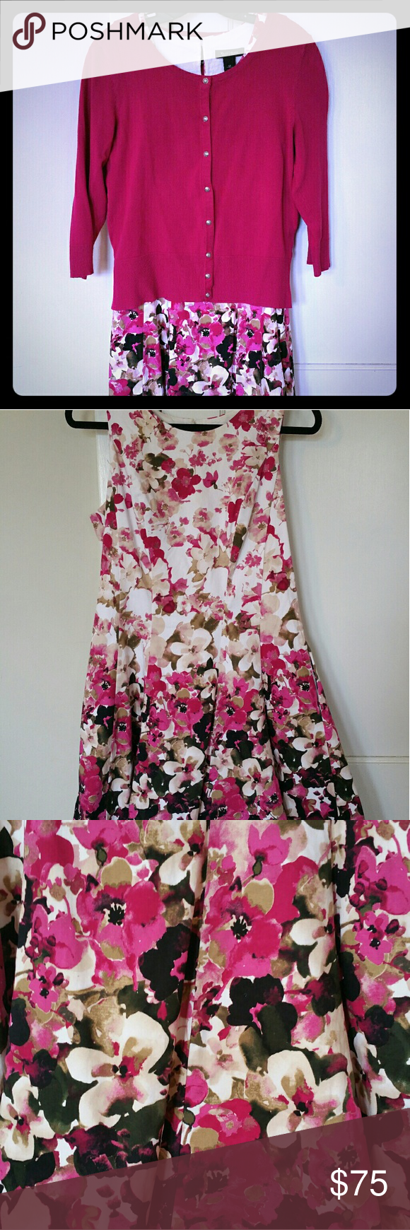 3 pc Sleeveless WHBM Dress, Cardigan & Belt Set This is gorgeous! Never worn. Dress is sleeveless & is a size 12, cardigan is size L. Flower belt has stretch adjustable back. Perfect for Spring! You will look like a million bucks! Pet friendly home. White House Black Market Dresses