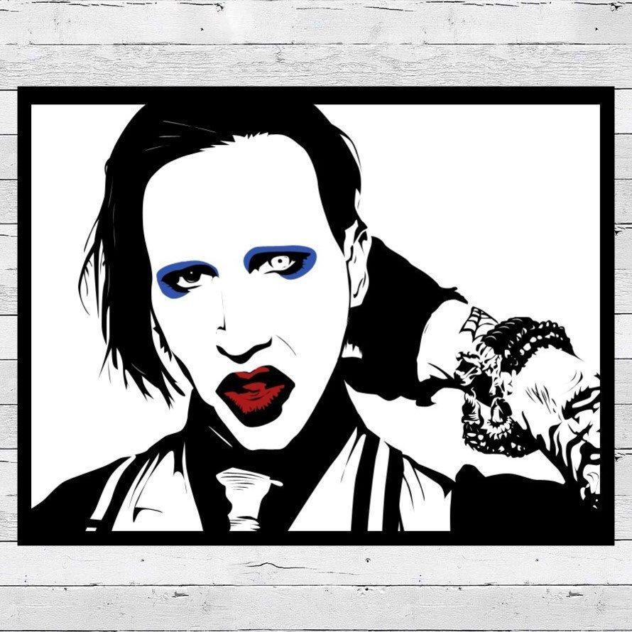 Artbybogarte Shared A New Photo On Etsy Marilyn Manson Portrait Acrylic Creepy Art