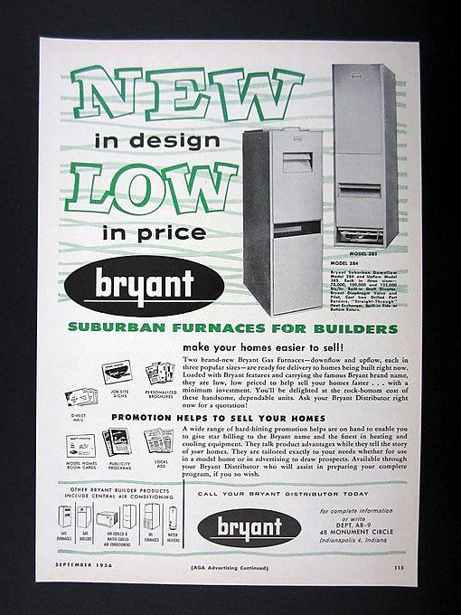 Bryant Suburban Downflow Upflow Gas Furnaces 1956 Print Ad
