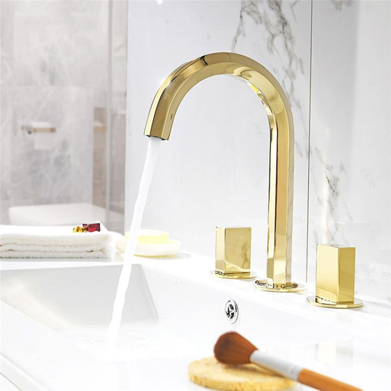Widespread Gold Basin Mixer Tap Modern Bathroom Sink Faucet With Dual Handles Bathroom Sink Faucets Modern Faucet Sink