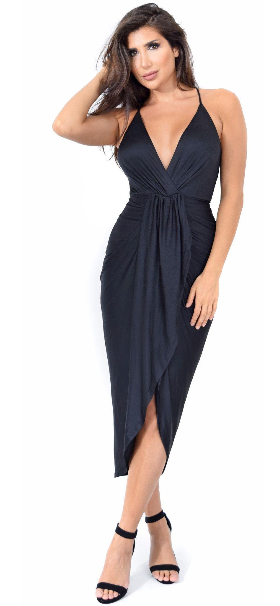 Jeanina Black Deep V Drape Dress  576c14c9a