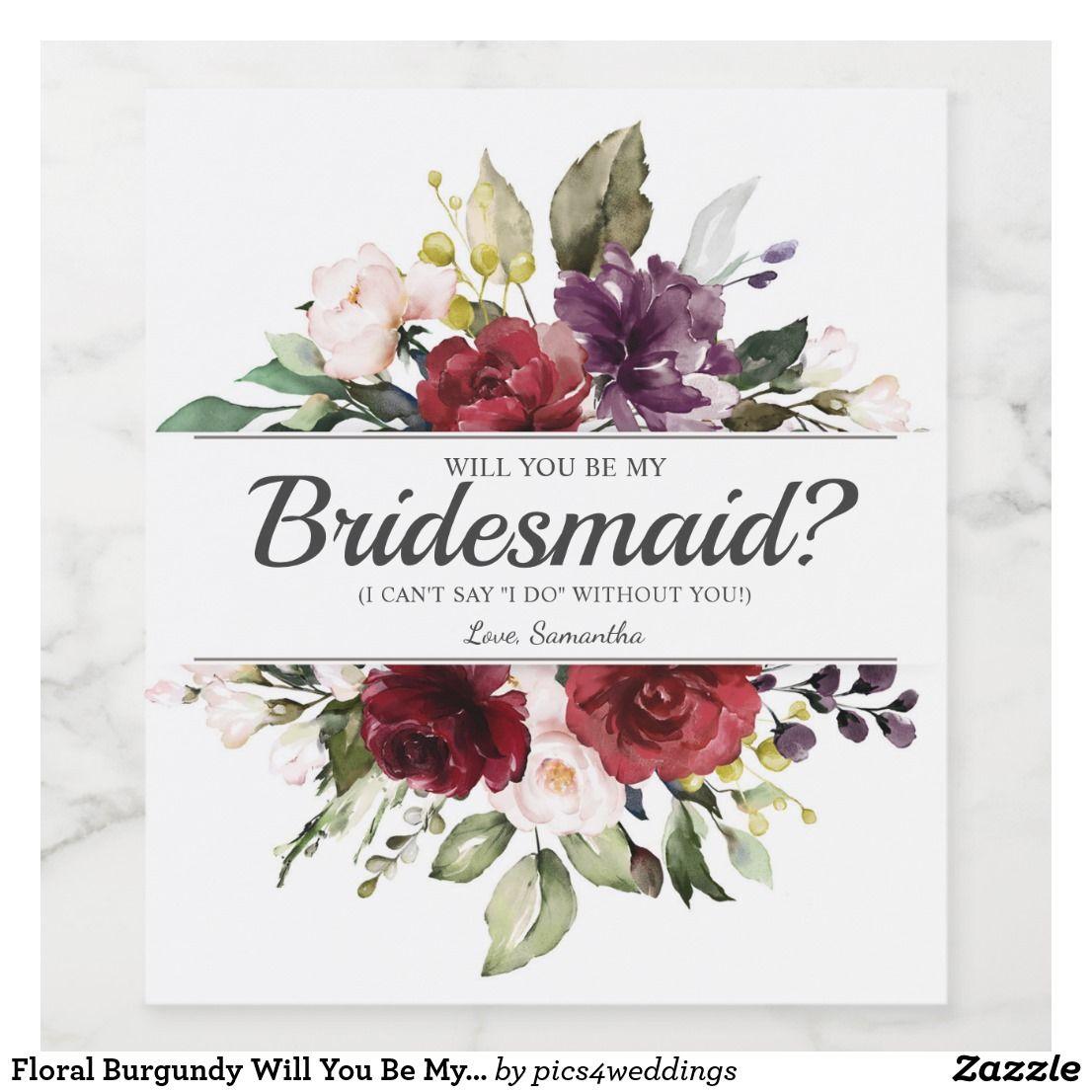 Will You Be My Bridesmaid Wine Label Printable Autumn Wedding Card, Wedding Card Marsala bridesmaid card Be My Bridesmaid
