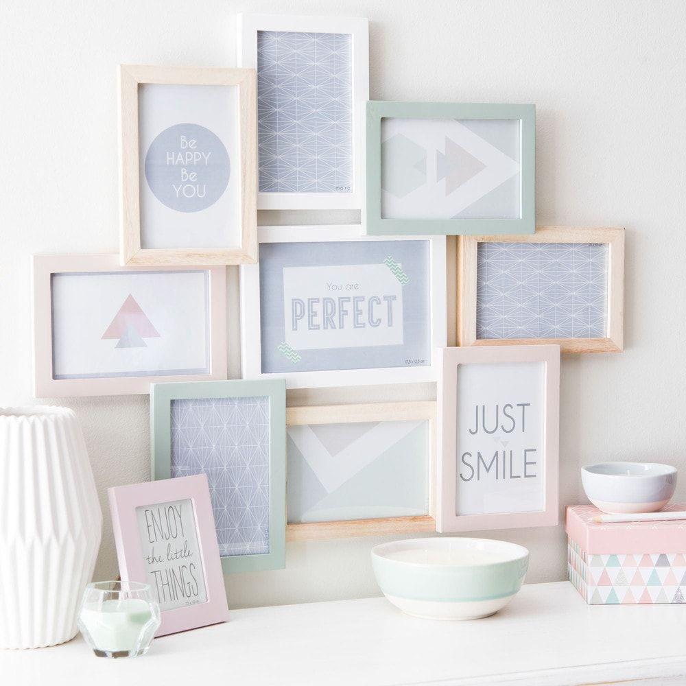 Cadre photo 9 vues en bois pastel 50 x 57 cm | Room ideas and Room