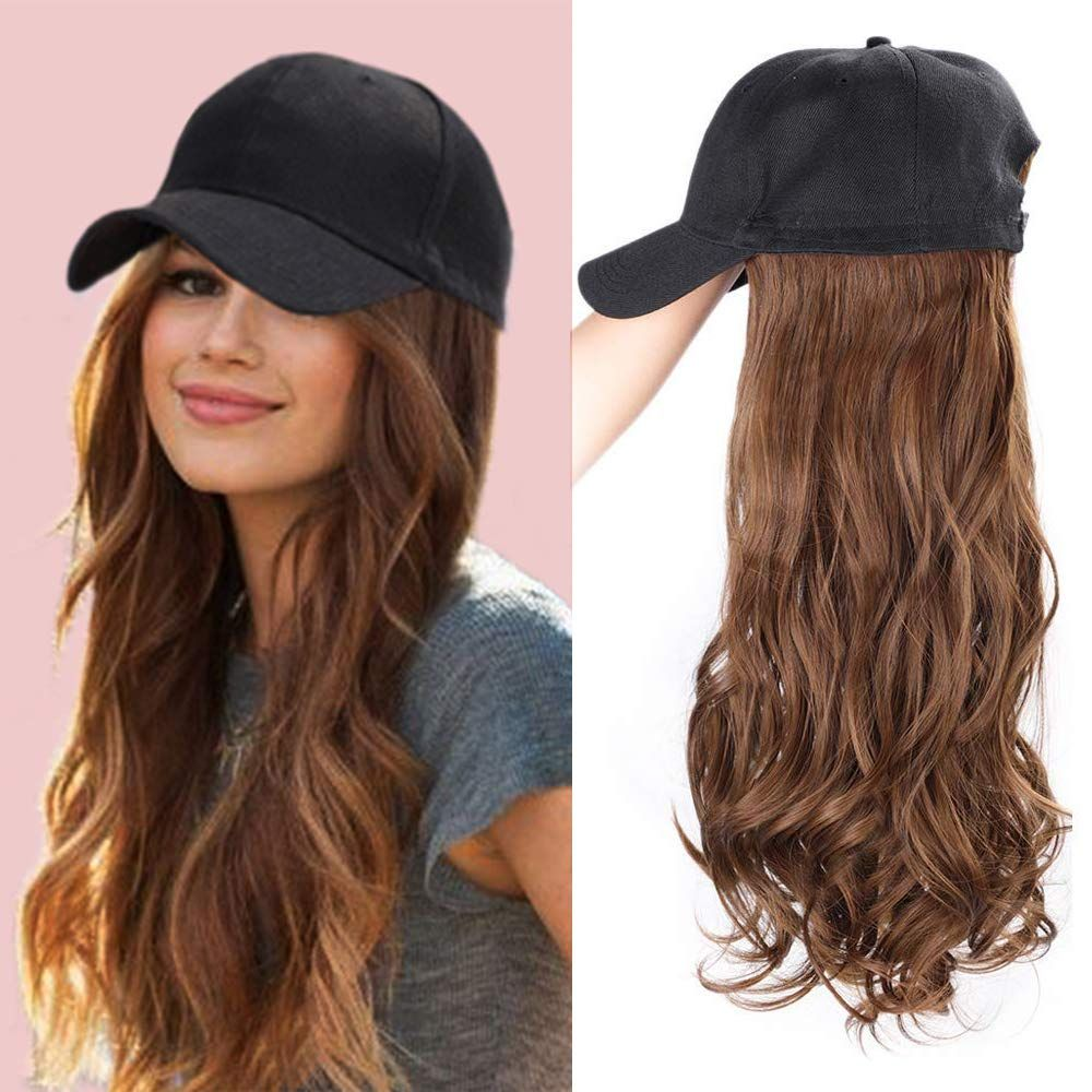 Baseball Cap With Hair Synthetic Hats With Hair Attached Black Hat With Hair Attached Long Wavy Hair Fake Hair Wig Hairstyles Natura Hair
