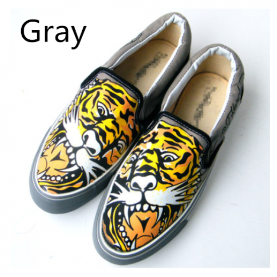 Tiger Graffiti Loafer Shoes For Men Animal Dog Canvas Shoes