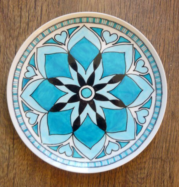 Hand painted Mandala Plate by tindink on Etsy $45.00 & Hand painted Mandala Plate by tindink on Etsy $45.00 | Painted ...