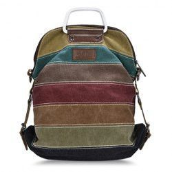 Casual Striped and Stitching Design Women's Canvas Bag
