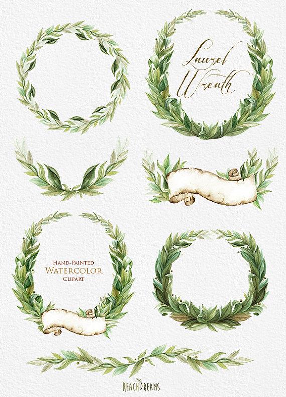 laurel wreath watercolor hand painted clipart wedding invitation