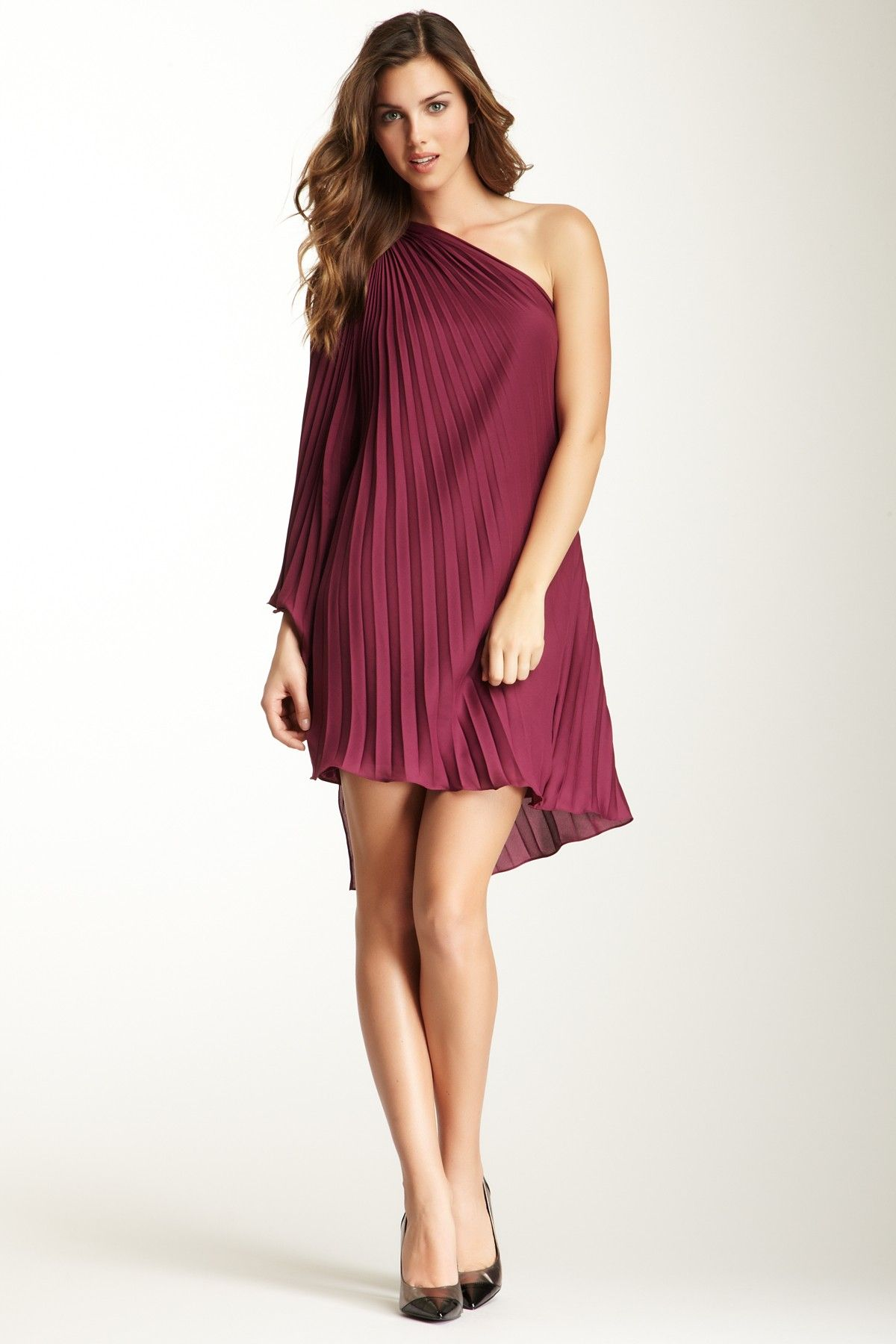 Halston Heritage One Shoulder Pleated Dress | My Dream ...