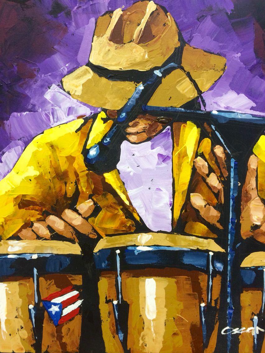 Óleo sobre canvas músico Puerto Rico art congas Puerto Rico music ...