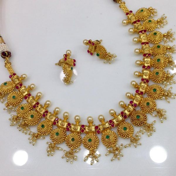 312d1f502 Traditional ruby emerald floral necklace buy online | Gold Jewelry ...