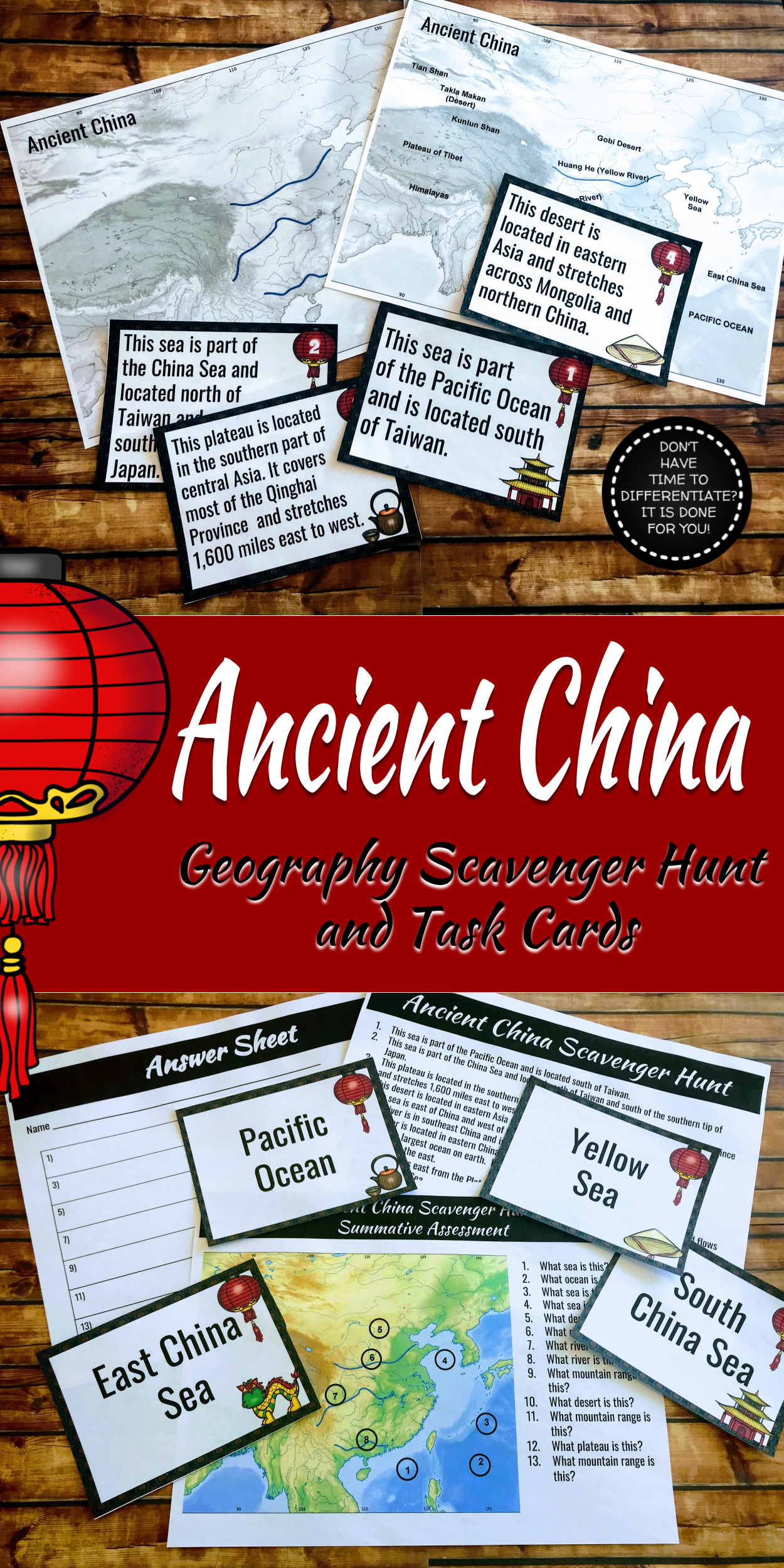 Ancient China Geography Scavenger Hunt And Task Cards