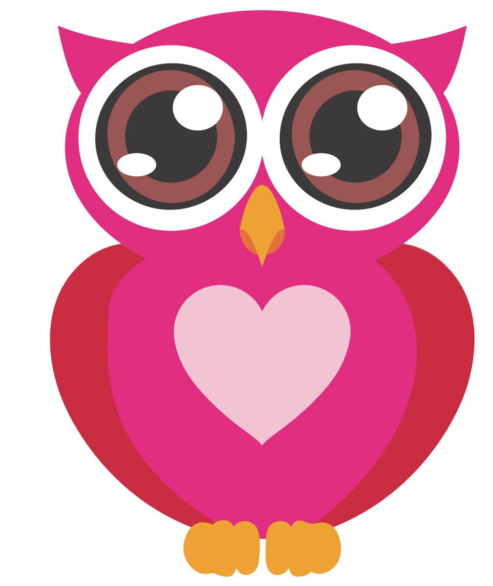 pink owl with big eyes wall stickers totally movable pink owl rh pinterest ie pink and grey owl clip art pink and purple owl clip art