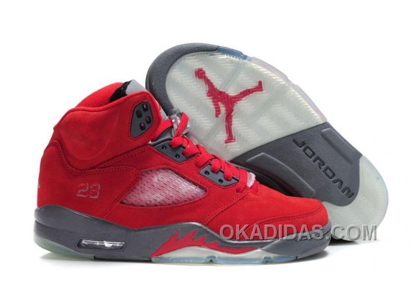 Star's favorite Fluff Fire Red/Grey-White Air Jordan 5 (V) Basketball Shoes  Shop