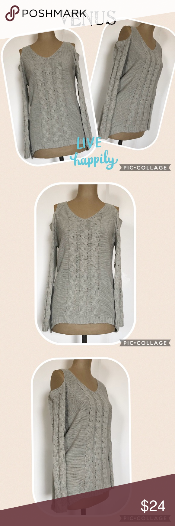 33c6b16f80 Gray Cold Shoulder Cable Knit Sweater by Venus Pretty gray cold shoulder  sweater By Venus Long sleeves Gentle V-neck Classic cable knit pattern  Gently ...