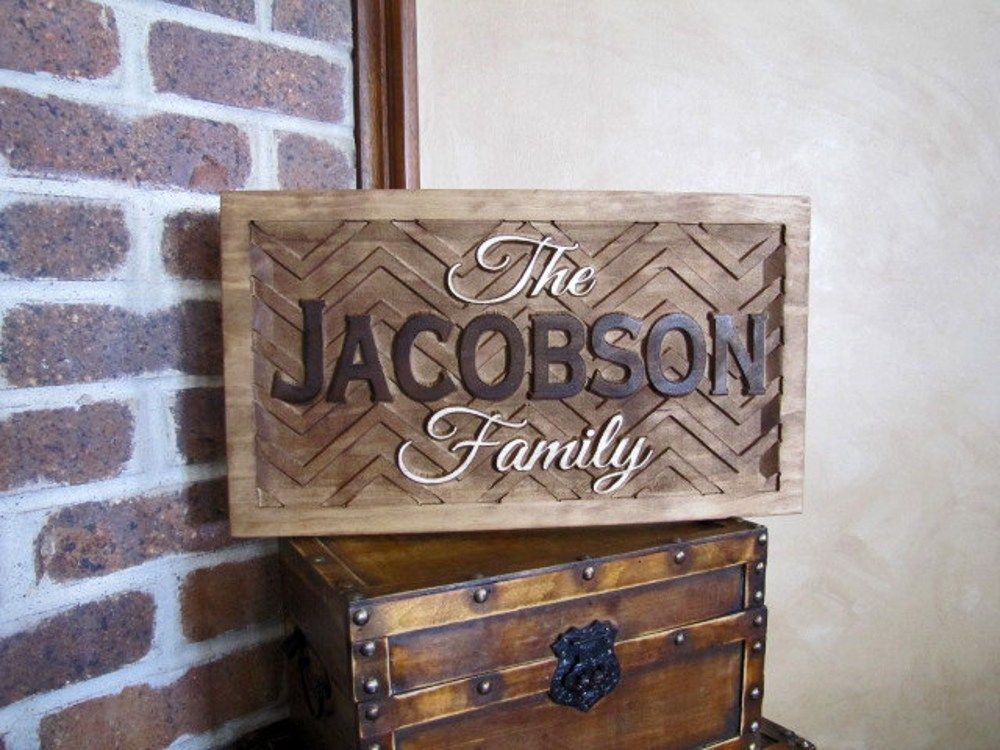 Contemporary Wedding Gifts: Personalized Chevron Shevron Family Name Signs Custom