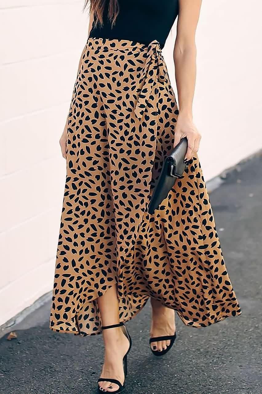 Women Khaki Printed Tied Waist Overlap Casual Maxi Skirt – XXL