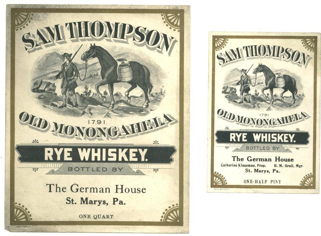 vintage sam thompson rye whiskey label design vintage beer and