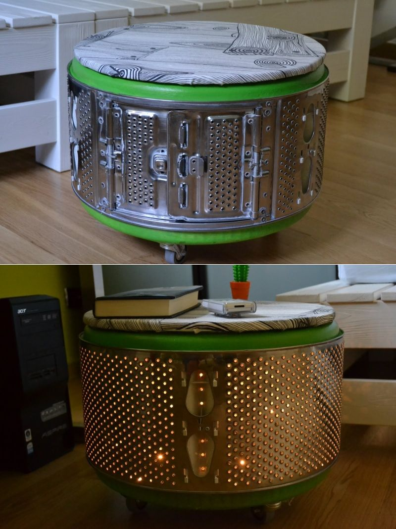 Attrayant Creative Ideas To Recycle Washing Machine Drum Into Functional Objects  #stool #sidetable #upcycled #recycled
