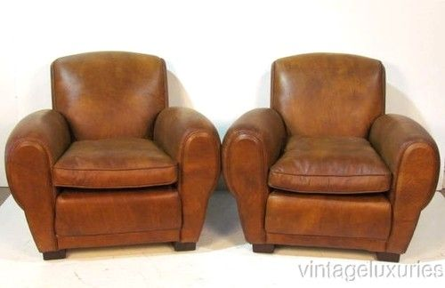 VL2216-Pair Leather Club Chairs