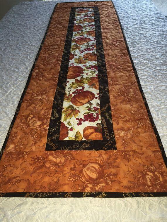 Thanksgiving Autumn Fall Gatherings Table Runner Quilt Brown