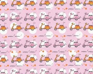 """Patchworkstoff """"Now We're Goin' Places"""" mit Mopeds, rosa-orange-weiß"""