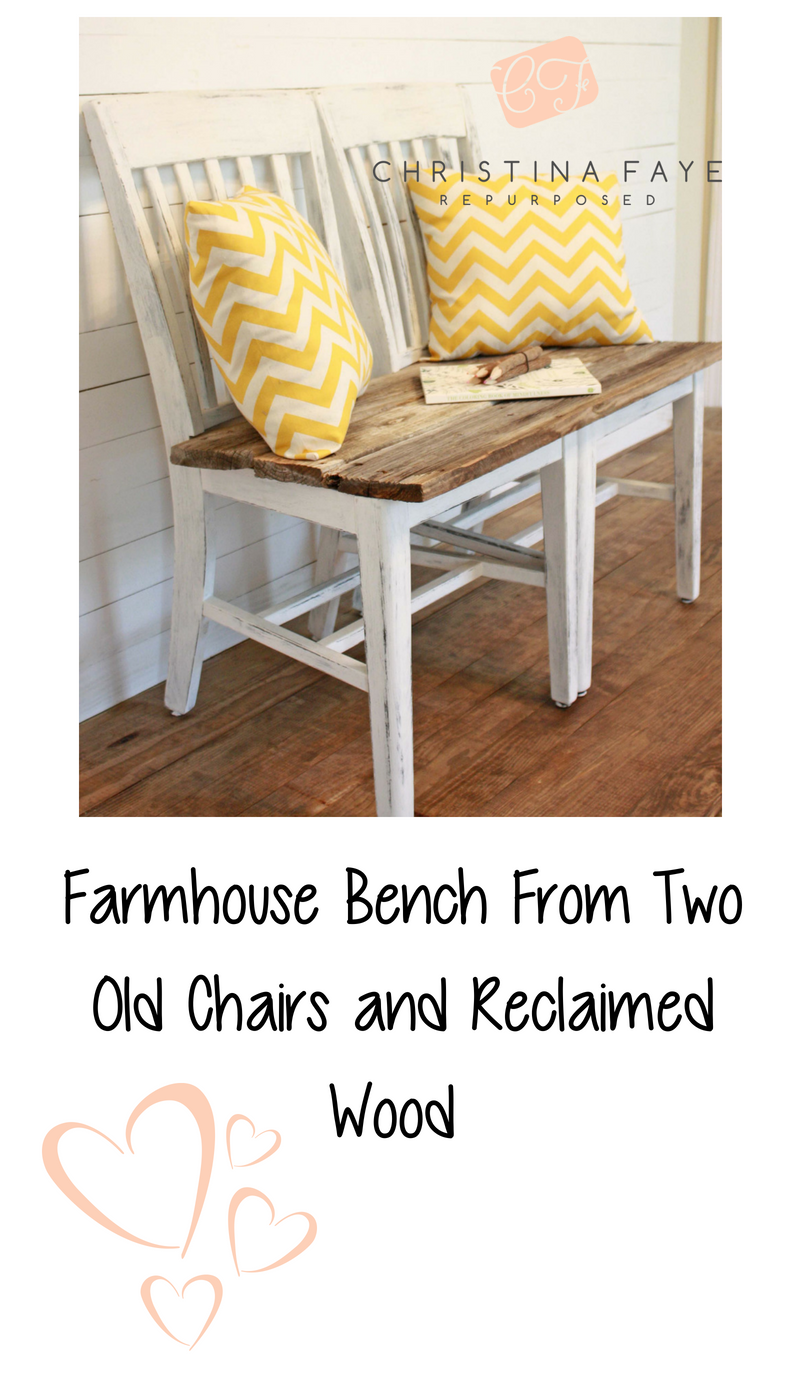 Astounding Repurpose Two Old Wood Chairs Into A Farmhouse Bench Using Caraccident5 Cool Chair Designs And Ideas Caraccident5Info