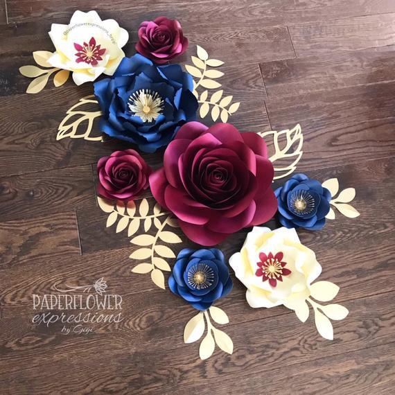 Burgundy Navy and Ivory Paper Flowers, Navy Marsala and Gold Wedding Flowers, Burgundy Wedding Paper Flower Backdrop #easypaperflowers
