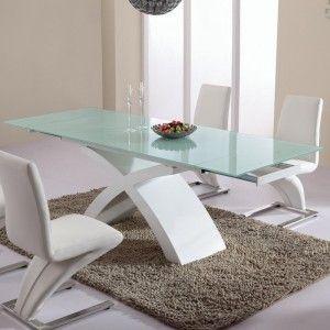 table de salle a manger en verre blanc
