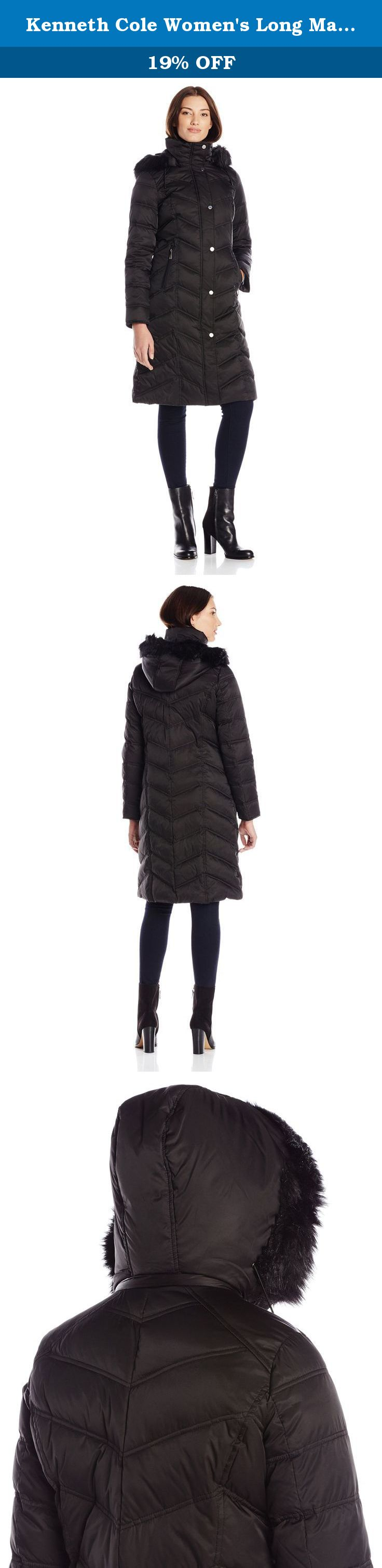Women's Maxi Coat Fur Long With Kenneth Down Faux Cole HoodBlack n8k0wPOX
