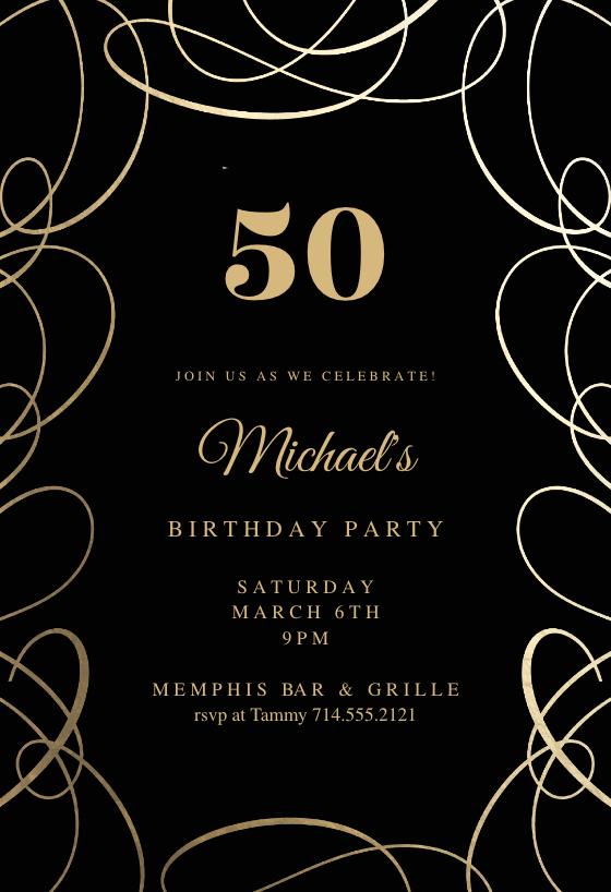 Intricate Swirls Birthday Invitation Template Greetings Island 70th Birthday Invitations Birthday Party Invitations Free 60th Birthday Invitations