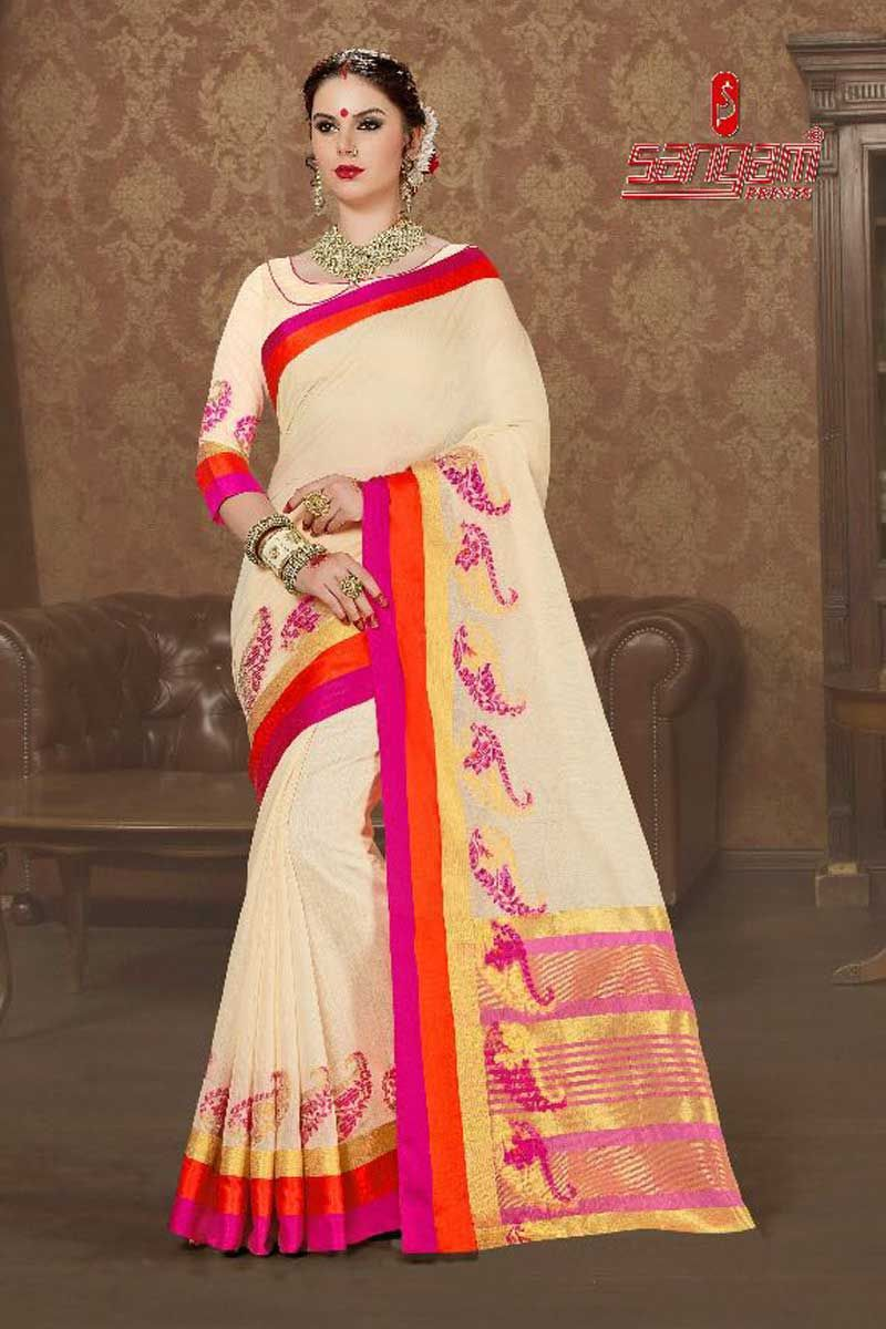 156157840197a7 Cream-Festival-Wear-South-Indian-Style-Silk-Sari-With-Blouse-Fabric ...