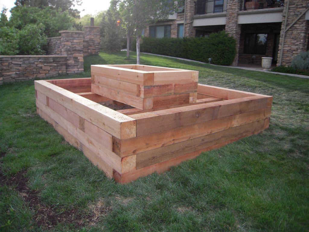 Landscaping Timber Garden Beds : Craftsmen style cedar timber raised bed garden ideas
